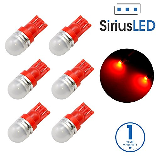 SiriusLED Super Bright 1W 360 Degree Projector LED Bulbs for Interior Car Lights Gauge Instrument Panel License Plate Dome Map Side Marker Courtesy T10 168 194 2825 W5W Red Pack of 6 (1989 Chevy Interior Parts compare prices)