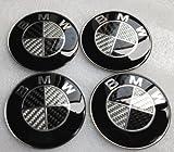 BMW Black Silver Carbon Fiber Emblem Badge Logo Wheel Center Hubs Caps Sticker Adhesive 45mm 4pcs