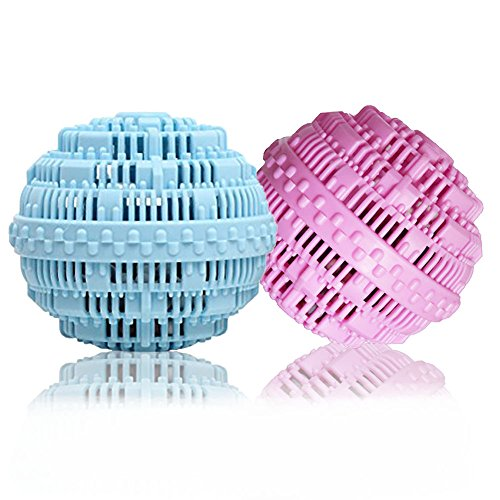 BERON Eco-Friendly Wash Ball Super Laundry Balls for 1500 Washings,Set of 2(Light Blue and Light Purple) ()