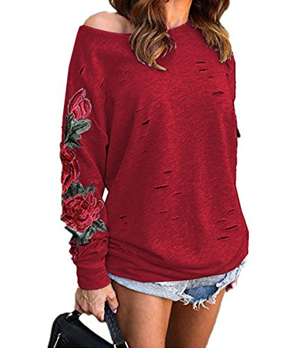 Dtruit Haut Manches Broderie Printemps Rond Pullover Sweat Chemisiers Femme Tunique Col T Longues Rouge Blouses Shirts Bustier Fashion Tops Tops Shirts xYCCq6Hw