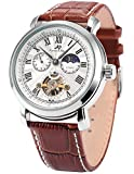 KS Aviator Golden Automatic Mechanical Black Leather Men's Watch KS021
