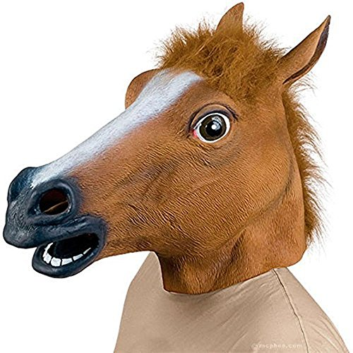Rubility Halloween Mask Latex Horsehead Party Mask Hallower Gift Brown (Halloween Costum Ideas)