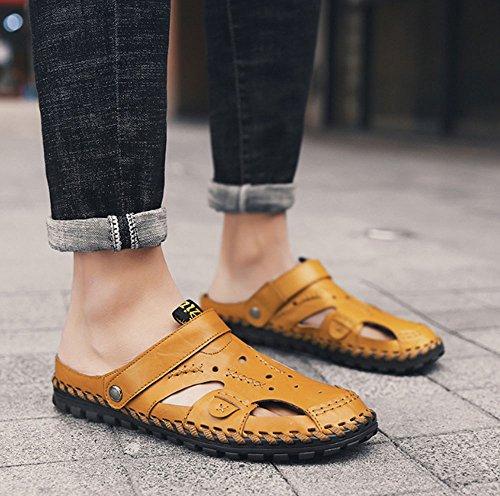 all'aperto libero scarpe moda da Giallo traspiranti morbido per il da popolare versione tempo uomo fondo uomo sandali in coreana Sandali estate spiaggia da pelle HAOYUXIANG set scarpe B7wqUC6x