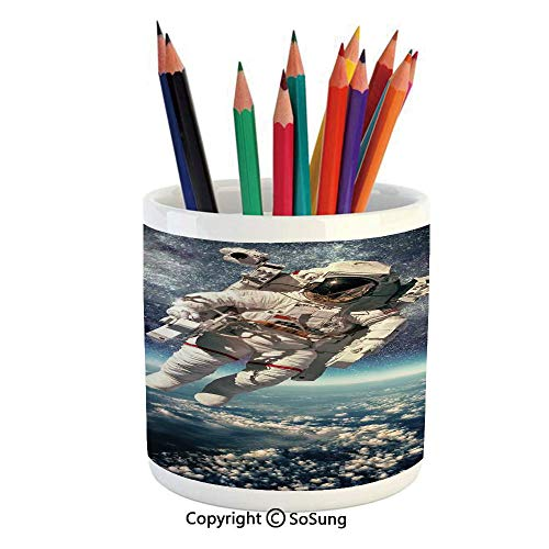 Printed Ceramic Pencil Pen Holder Case Box,Astronaut Floats Outer Space with Planet Earth Globe Surreal Gravity Image Space Art Beautiful Stationery for Daily Use in Office,Classroom,Home,Gift Idea,Gr]()