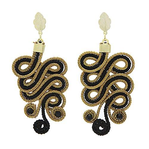 NOVICA Gold Plated Dangle Post Earrings 'Black Majesty' ()