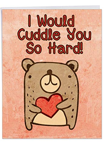 Sweet Cuddle You So Hard Birthday Card with Envelope (Big 8.5 x 11 Inch) - Funny Happy Birthday Greeting Notecard for Her or Him - Hilarious Bday Stationery Surprise for Wife or Husband J2197BDG (Best Wife For Surprises Birthday)