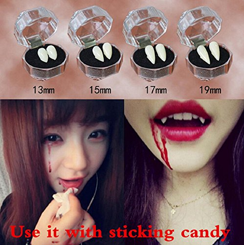 Vampire False Tooth, FirstFly Halloween Party Fake Vampire Devil Tooth Fangs Caps Horror Dentures Teeth Cosplay Props Trick Toys (15mm)