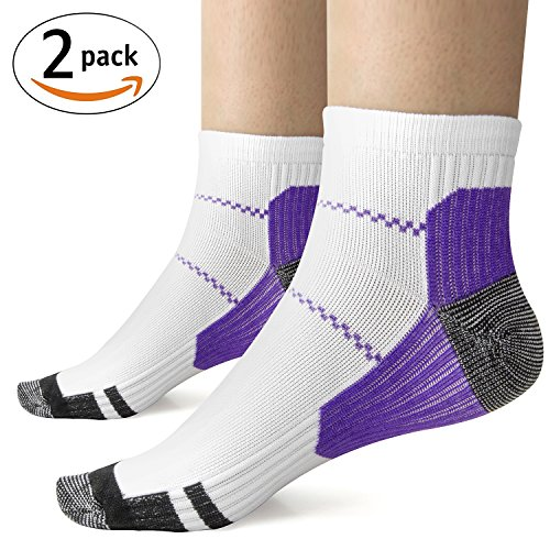 2 Pairs Compression Socks Women Ankle Socks Arch Support Foot Sleeve for Running, Nurses, Shin Splints, Diabetic, Maternity, Pregnancy, Crossfit, Flight Travel (Purple)