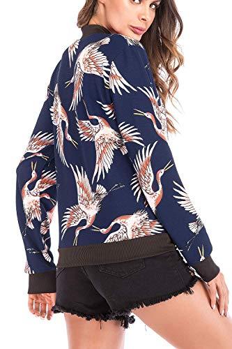 Longues Floral Xx Manteau Bleu Décontracté Veste Silm coloré Sweatshirt Oudan À Manches large Taille Femme Blanc IgUqxwn1
