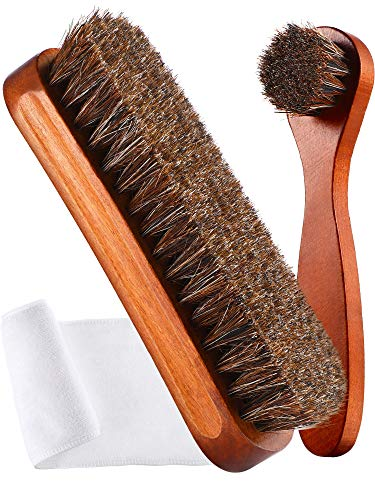 Youngjoy 3 Pieces Horsehair Shine Shoes Brush kit Polish Dauber Applicators(C)
