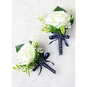 Secret Garden Luxury Roses Boutonniere Pins for Wedding prom party(2pcs) (Navy Blue theme) 94