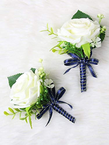 - Secret Garden Luxury Roses Boutonniere Pins for Wedding prom party(2pcs) (Navy Blue theme)