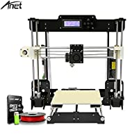 Anet A8 3D Printer with Filament, Acrylic Frame 220x220mm Heated Bed Large Print Size Self-Assemble DIY i3 3D Printer Kit with 0.5kg Filament and Tools Kit by Qibei