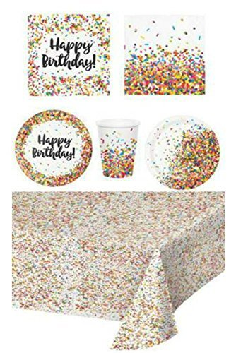 Disposable Plates, Napkins, Cups, Tablecloth, Sprinkle Confetti Birthday Party Supplies, 6-Piece Bundle ()