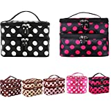 LQZ(TM) 144PCS Portable Cosmetic Bag Double Layers Dots Patterns Travel Toiletry Bag Organizer With Mirror(12 Colors, 12PCS for each color, Total 144PCS)