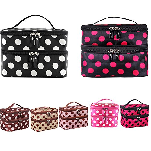 LQZ(TM) 144PCS Portable Cosmetic Bag Double Layers Dots Patterns Travel Toiletry Bag Organizer With Mirror(12 Colors, 12PCS for each color, Total 144PCS) by LQZ(TM)