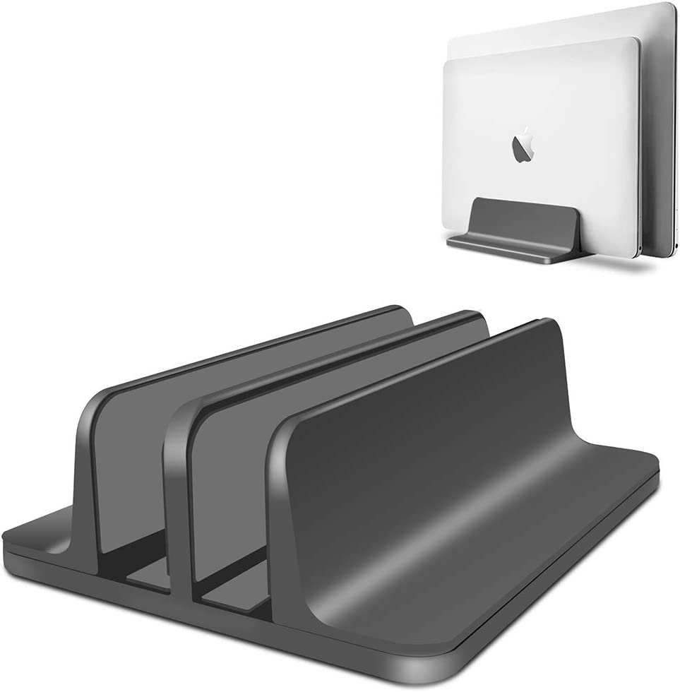 Vertical Laptop Stand Adjustable Desktop Aluminum MacBook Stand with Adjustable Dock Size, Fits All MacBook, Surface, Chromebook and Gaming Laptops (Up to 17.3 inch) (Black)