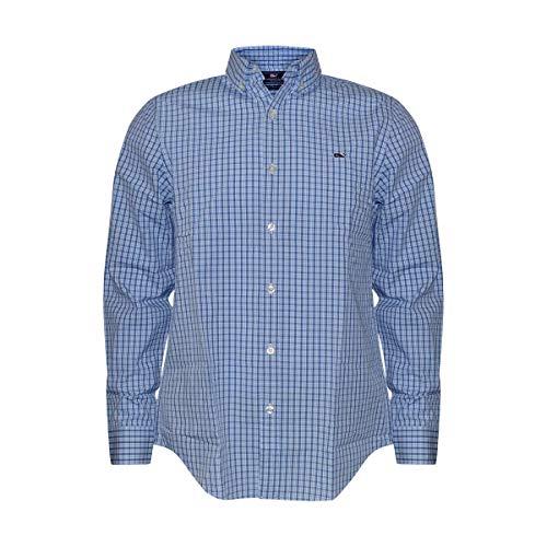 - Vineyard Vines Men's Slim Fit Whale Shirt Button Down Dress Shirt (Tattersall Spread/Blue, Small)