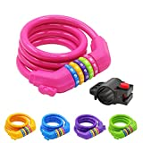 Cheap IDEALUX Sport Bike Lock Cable, 4-Feet Bicycle Master Cable Lock with 5-Digit Combination Lightweight Bike Chain Lock Pink