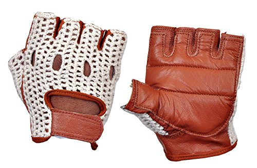 Real Soft Leather Mesh Net Fingerless Driving Weight Training Cycling Wheelchair Gloves W-1037...