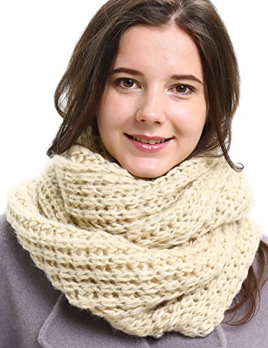 Solid Crochet Infinity Scarf Soft Warm Scarves for Women Fall Winter Thick Circle Loop Scarfs Beige