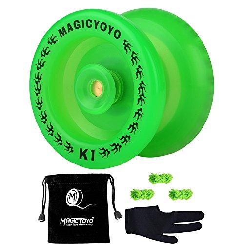 MAGICYOYO Non-responsive K1 YoYo Glow in the Dark Green YoYo for Kids Friends +Yo-yo Glove Gift+Yo-yo Sack+3 (Cheap Yoyos)