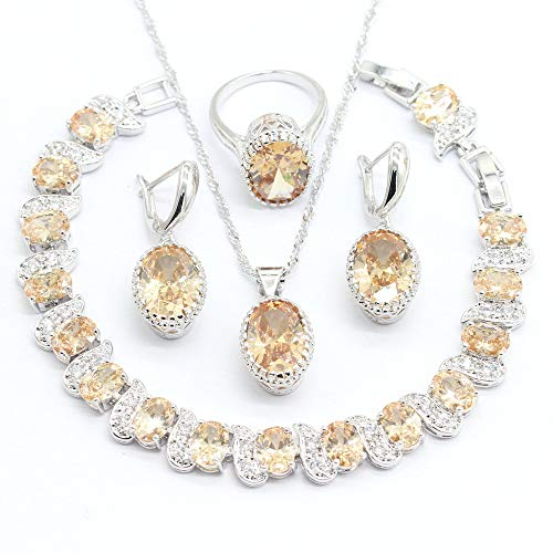 - Aixili Oval Champagne Orange Cubic Zirconia Jewelry Set for Women with Bracelet Necklace Pendant Earring Ring Wedding Party Fashion Jewelry (8)