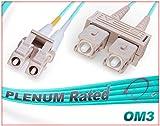 OM3 LC SC Plenum Duplex Fiber Patch Cable 10G Multimode 50/125 - 75 Meter
