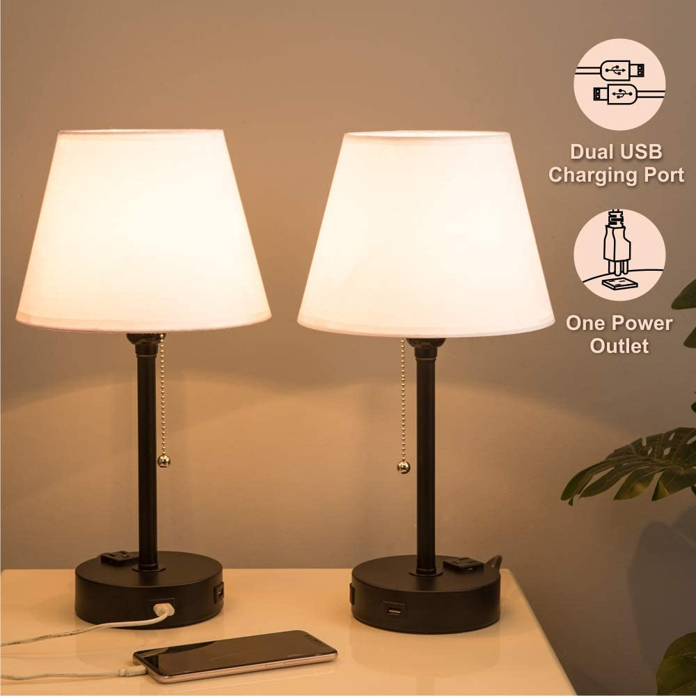 Lifeholder Bedside Lamps, Table Lamp with Useful Dual USB Ports & A Power Outlet, Minimalist White Shade USB Nightstand Lamp, Desk Lamp Perfect for Bedroom, Living Room or Office (2 Packs)