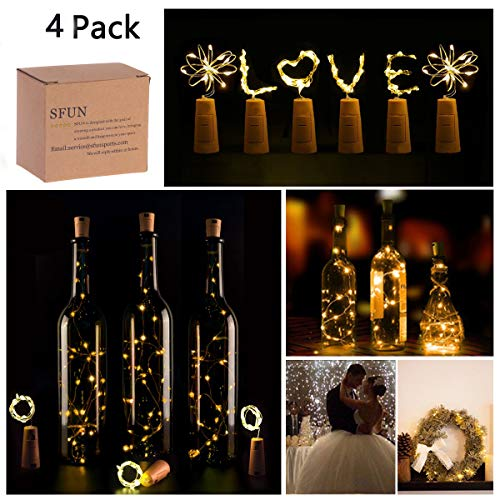 Wine Bottle Lights with Cork,LED Cork Lights for Bottle ,Copper Wire Bottle Lights for DIY, Party, Decor, Christmas, Halloween,Wedding (4Pack, Warm White)]()