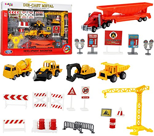 Kiddie Play Construction Vehicles Machine Toy Set with Street Play Mat, Great Birthday Party Cake (Toy Birthday Cake Set)