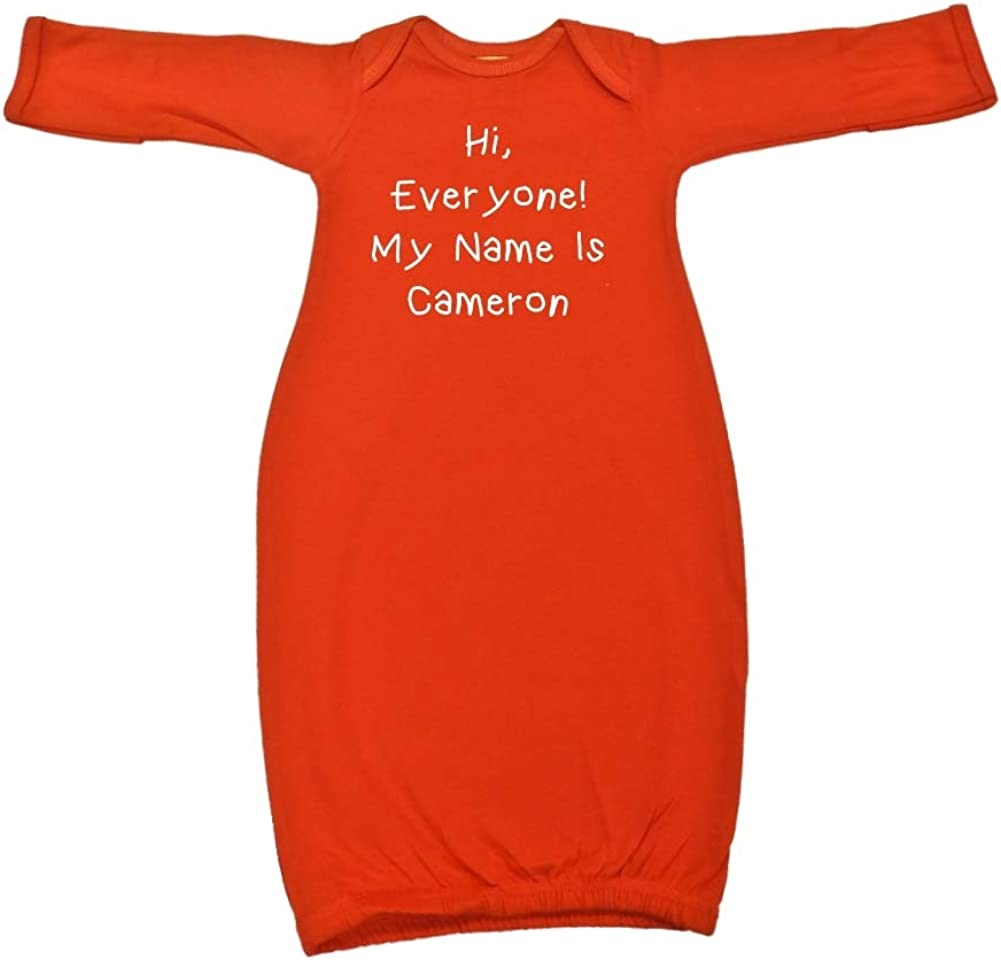 Mashed Clothing Hi My Name is Cameron Personalized Name Baby Cotton Sleeper Gown Everyone