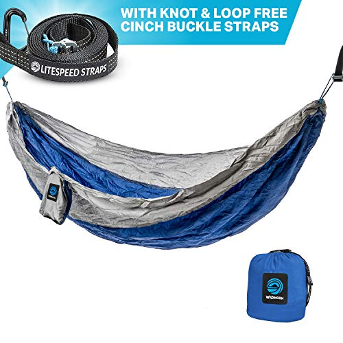 Outpost Camping Hammock With Adjustable Suspension System- Includes 11' 100% Polyester Tree Straps