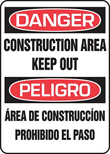 Accuform SBMADM014VA Aluminum Spanish Bilingual Safety Sign, Legend 'DANGER CONSTRUCTION AREA KEEP OUT/PELIGRO AREA DE...