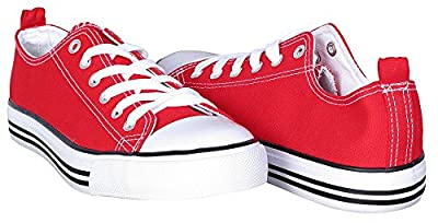 Canvas Sneakers for Women - Low Cut Casual Shoes - Casual Lace Up Flat Shoes