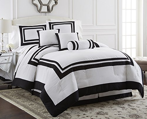 Square Comforter Set - Chezmoi Collection 7 Piece Caprice Square Pattern Hotel Comforter Set, Full/Double, White/Black