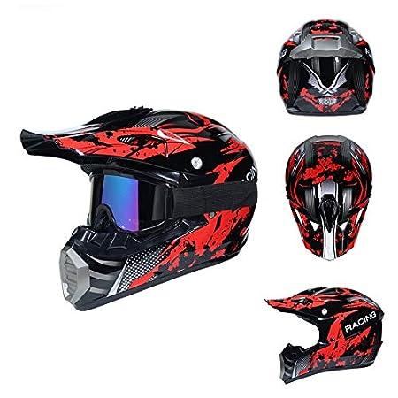 Dabobo Casco de motocross Casco de moto de cara completa Hombres Mujeres Bicicleta de monta/ña Adulto Cascos de carretera Naranja oscuro Rojo F,L