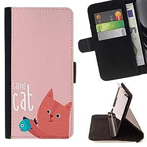 - Cat Cartoon Cute - - Monedero PU titular de la tarjeta de cr?dito de cuero cubierta de la caja de la bolsa FOR Apple Iphone 5C Retro Candy