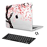 Women's Fashion Case for New MacBook Pro 13 inch 2019 2018 2017 2016 Release Model A2159/A1989/A1706/A1708 Cherry Blossoms Plastic Hard Shell & Keyboard Cover & Dust Plugs (Transparent)