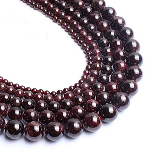 - 8mm Black Onyx Gemstone Round Loose Beads for Jewelry Making(47-50pcs/strand) (Red Garnet)