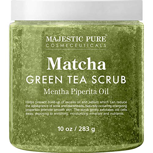 Matcha Green Tea Body Scrub for All Natural Skin Care - Exfoliating Multi Purpose Body and Facial Scrub Moisturizes and Nourishes Face and Skin - 10 ounces - Great Gift for Her