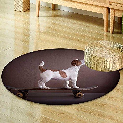 (Small Round Rug CarpetJack Russell Terrier on a Skateboard Door mat Indoors Bathroom Mats Non Slip-Round 35