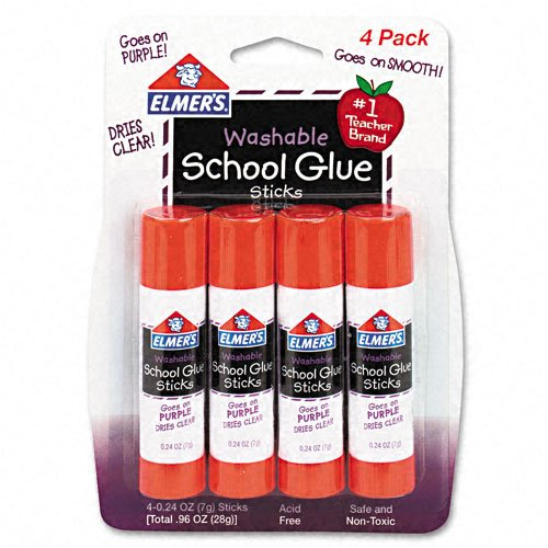 Elmer`s : Washable School Glue Sticks, Purple, .24 oz, Repositionable Stick, 4 per Pack -:- Sold as 2 Packs of - 4 - / - Total of 8 (0.24 Ounce Repositionable Stick)