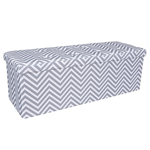 SONGMICS Chevron Tufted Storage Ottoman Bench Trunk Chest Foot Rest Step Stool 43 1/4