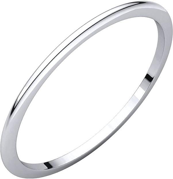 Size 8.5 14K White Gold Light Half Round Band