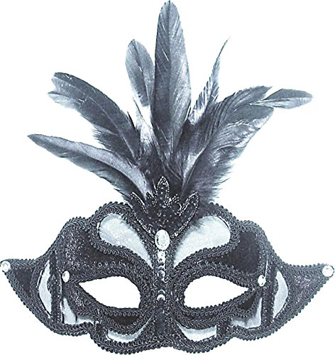 Halloween Masquerade Fancy Party Black Net Mask With Feathers On Headband
