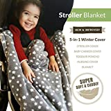 Lucky Baby Double Fleece Adjustable 5-in-1 Baby Carrier Cover with Hoodie, Gray Skies