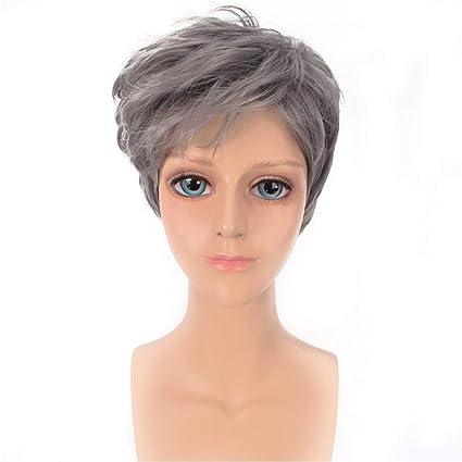 iudrfgsd peluca de hombre Belli frangette Oblique grises peluca corta el pelo liso peluca Harajuku cos