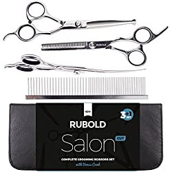 Professional Pet Grooming Scissors Set for Dogs and Cats by Rubold & Durable Stainless Steel Shears + Bonus Grooming Comb in Premium Leather Case (3+1)