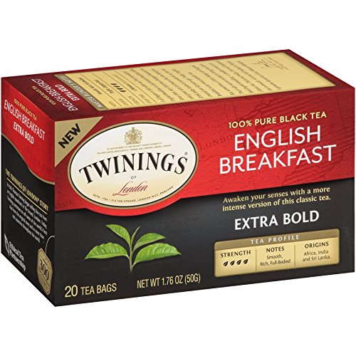 Twinings of London English Breakfast Extra Bold Tea Bags, 20 Count (Pack of 6)